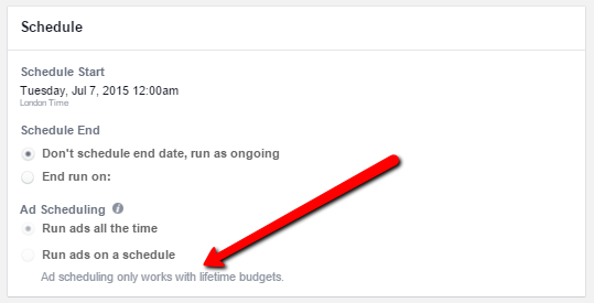 Facebook Schedule Option