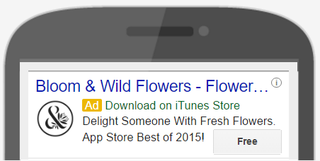 Bloom & Wild Download Ad on Google